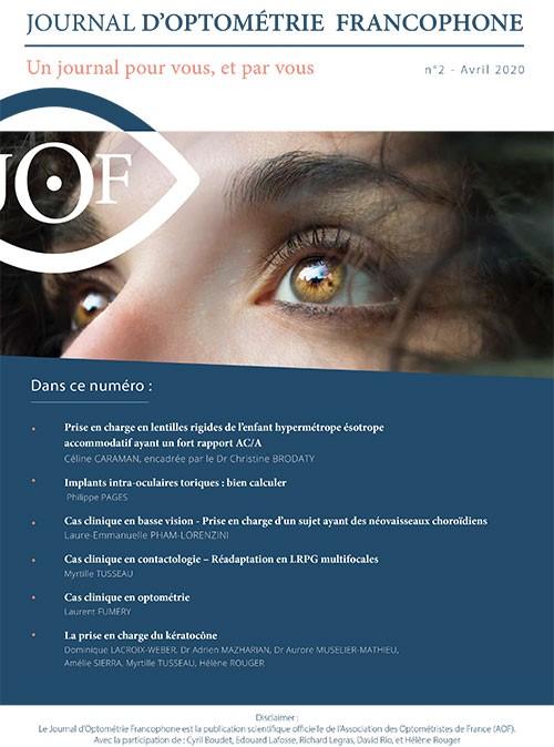 JOURNAL D'OPTOMÉTRIE FRANCOPHONE N°2 – AVRIL 2020