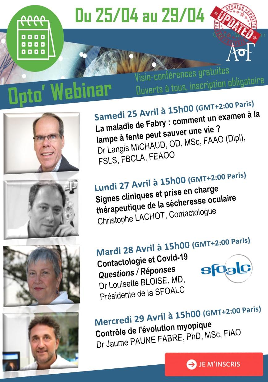 | OPTO'WEBINAR | Découvrez le programme du 25/04 au 29/04