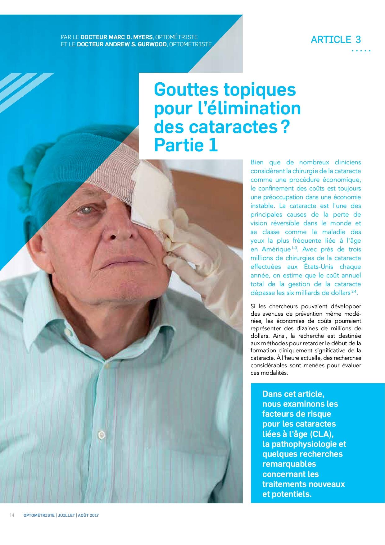 Des gouttes topiques pour l'élimination des cataractes ?