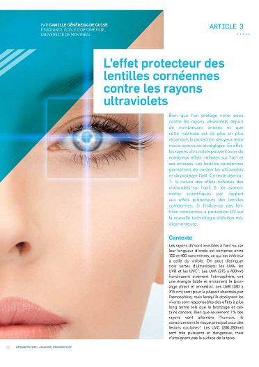 L'effet protecteur des lentilles cornéennes contre les rayons ultraviolets