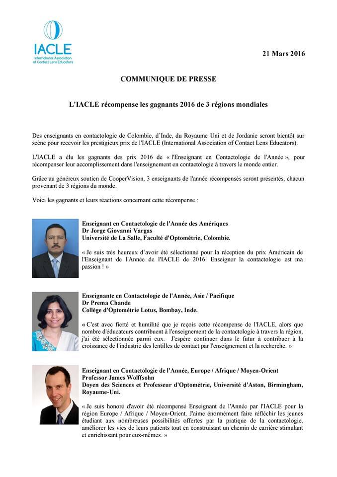 L'IACLE, en partenariat avec CooperVision, récompense les enseignants en contactologie à travers le monde !
