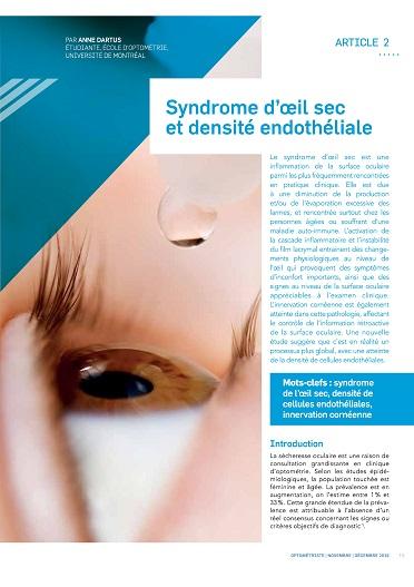 Syndrome d'œil sec et densité endothéliale